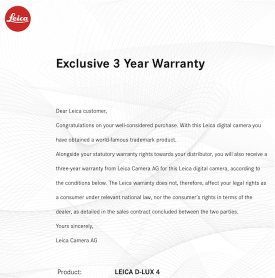 3 years warranty for the DL4