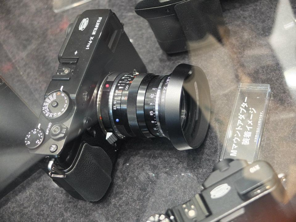 Fuji X-Pro1 M-mount adapter on display at the CP+ show in Japan