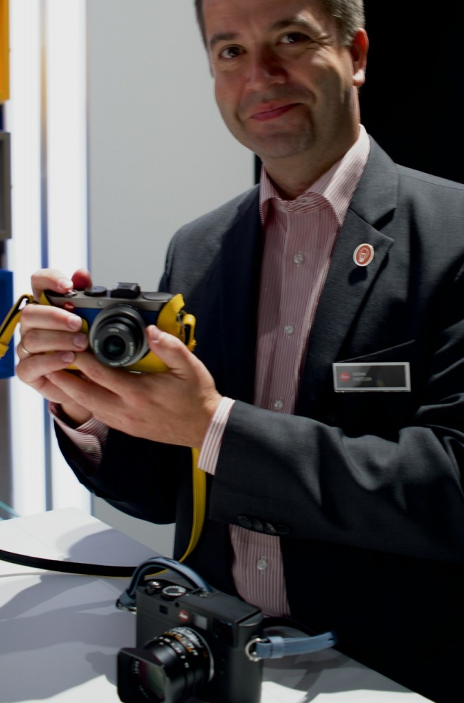 Here the Leica rep is holding an X with the Monochrome-M in front of him