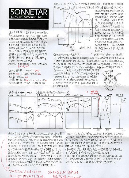 MS Optical Sonnetar 50mm f1.1 MC lens diagram