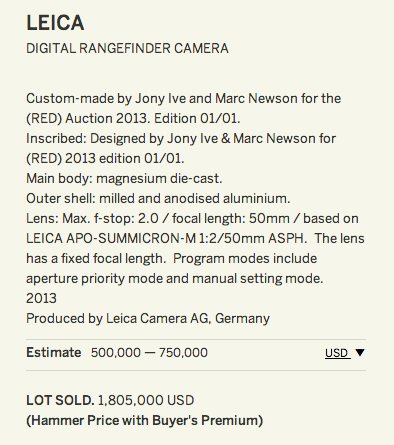 Leica M camera designed by Jony Ive and Marc Newson for RED