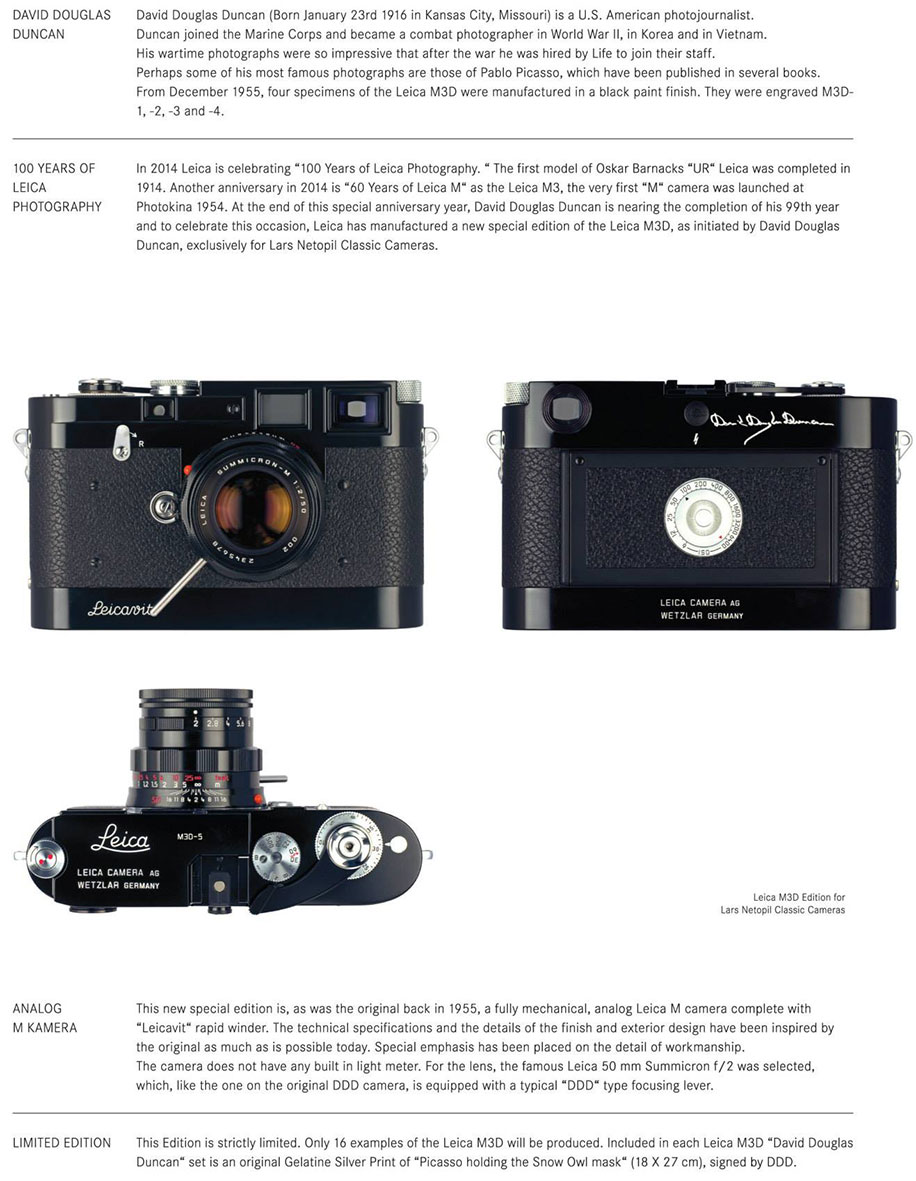 """Leica M3D-5 """"David Douglas Duncan"""" limited edition camera: additional coverage"""
