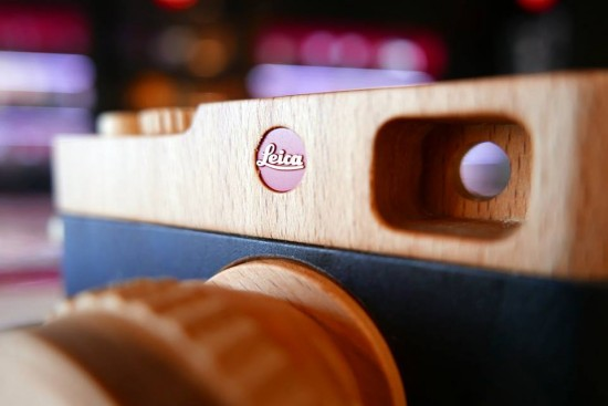 Handmade wooden Leica camera