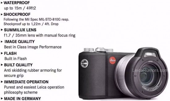 Leica-X-U-Typ-113-waterproof-and-shockproof-camera-specifications
