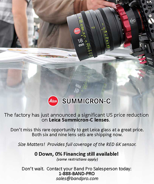 Significant price reduction on Leica Summicron-C cinema lenses