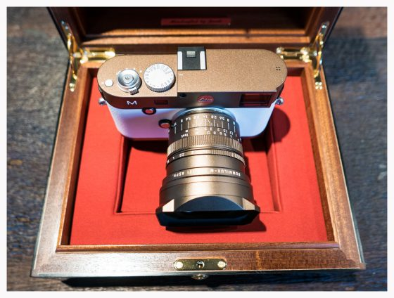 bronze Leica M Typ 240 camera with white leather4