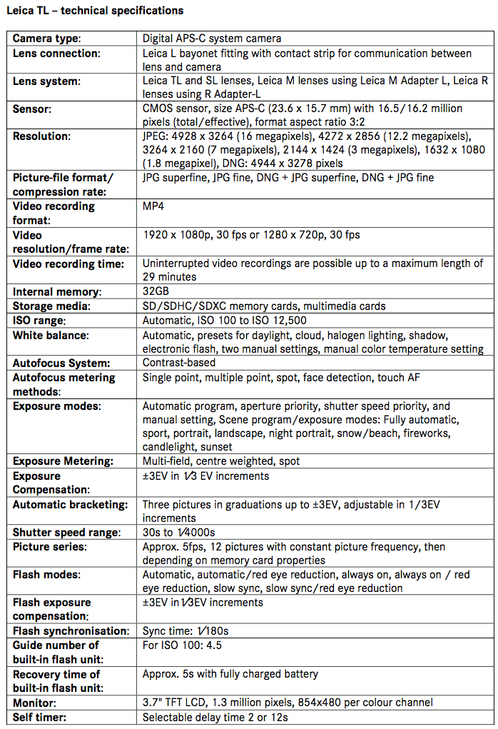 leica-tl-camera-technical-specifications