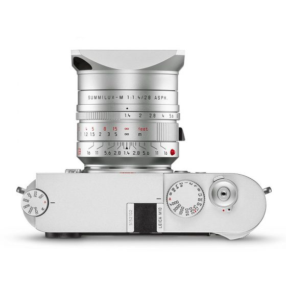 The silver anodized Leica Summilux-M 28mm f/1.4 ASPH lens is listed as discontinued at B&H