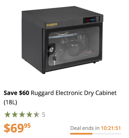 Deal Of The Day The Ruggard Electronic Dry Cabinet 18l Is