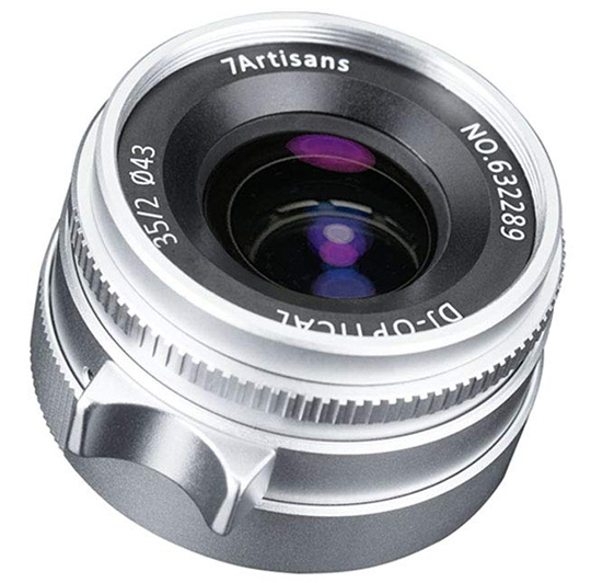 The new silver 7Artisans 35mm f/2 lens for Leica M-mount is now in stock