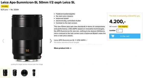Leica APO-Summicron-SL 50mm f/2 Asph lens leaked at a German retailer
