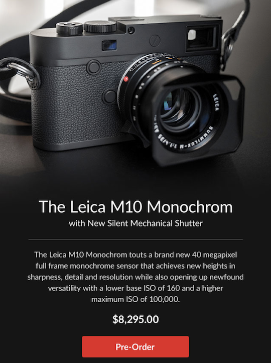 Leica M10 Monochrom camera pre-order links